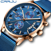 2019 Mens Stylish Watches CRRJU Brand Blue Military Waterproof Sports Watch Men's Casual Mesh Strap Quartz Clock reloj hombre(China)