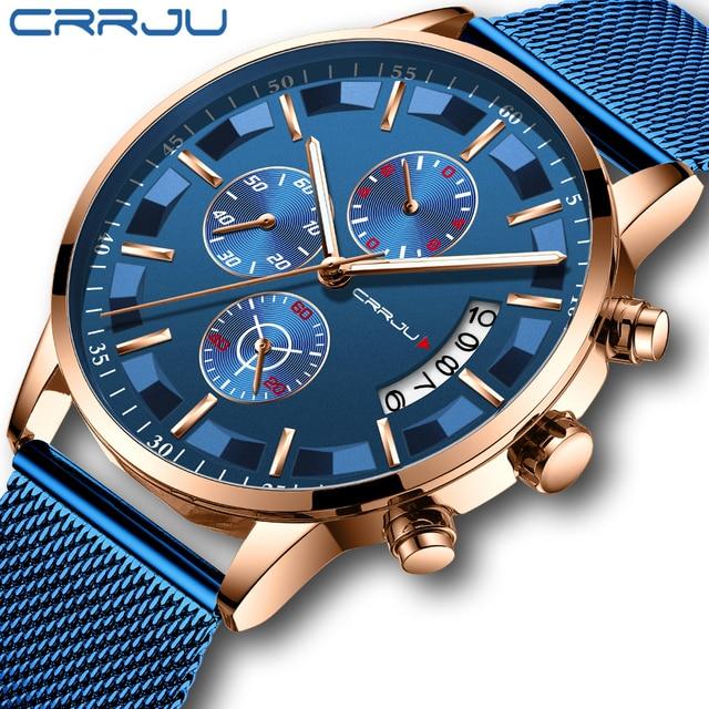 2019 Mens Stylish Watches CRRJU Brand Blue Military Waterproof Sports Watch  Mens Casual Mesh Strap Quartz Clock reloj hombre