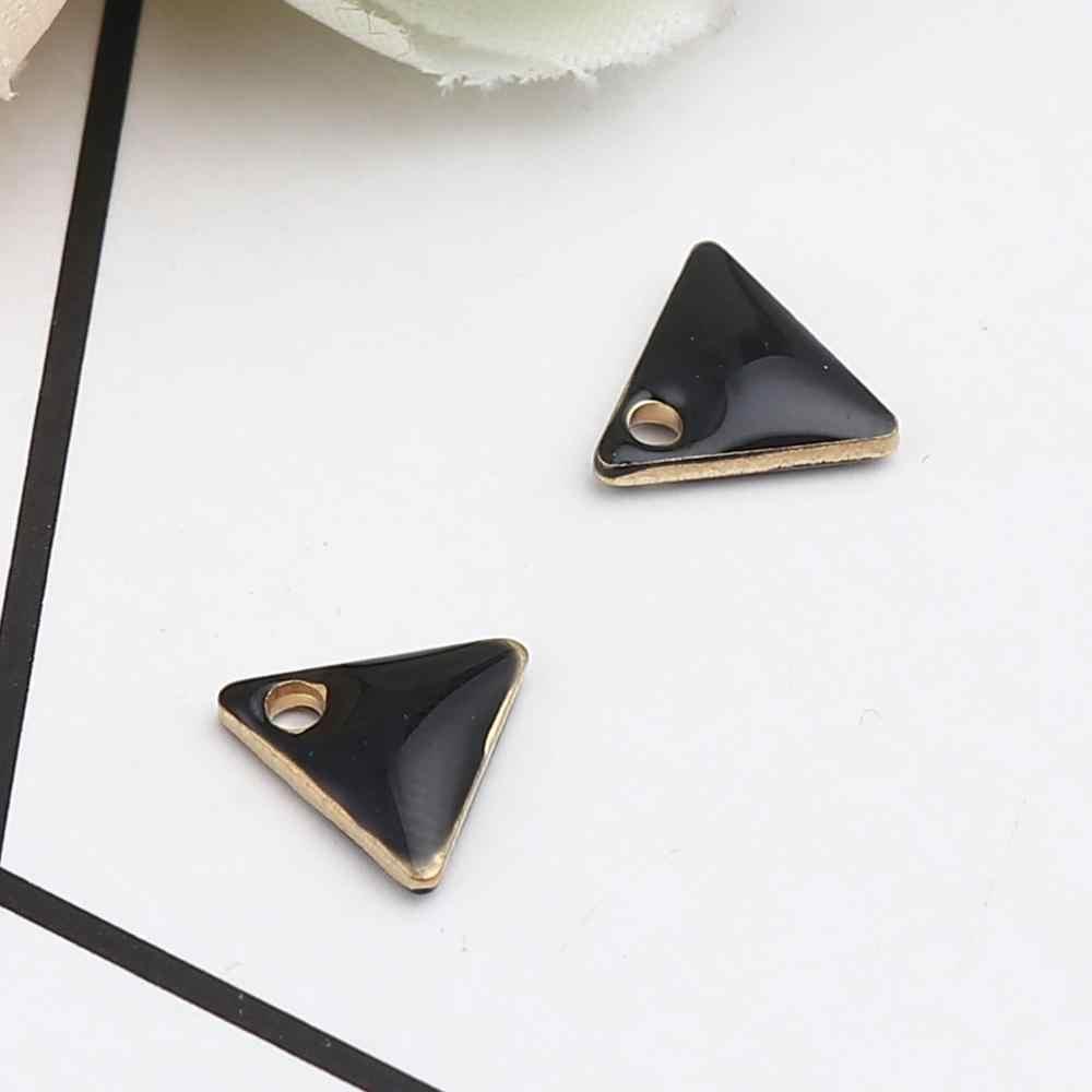 Doreen ボックス銅エナメルスパンコールチャームゴールド色金属幾何学的なソリッドカラートライアングルペンダントジュエリー 8 ミリメートル × 7 ミリメートル、 10 個
