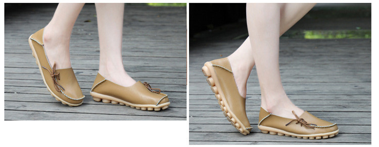 AH 911-2019 Spring Autumn Genuine Leather Women Loafers Walking Mother Flats-13
