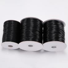 10M/lot 0.5 0.8 1.0 1.5mm Black Waxed Cotton Cord Thread Cord String Fit Beading Craft DIY Necklace For Jewelry Making Supplies tyry hu 10m soft satin nylon multicolor cord solid rope for jewelry making beading cotton cord for baby 2mm diy necklace pendant
