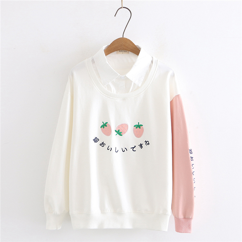 Kawaii Graphic Pink Hoodie Women Japanese College Clothing Letter Embroidery Cute Sweatshirt Strawberry Long Sleeve Pullover