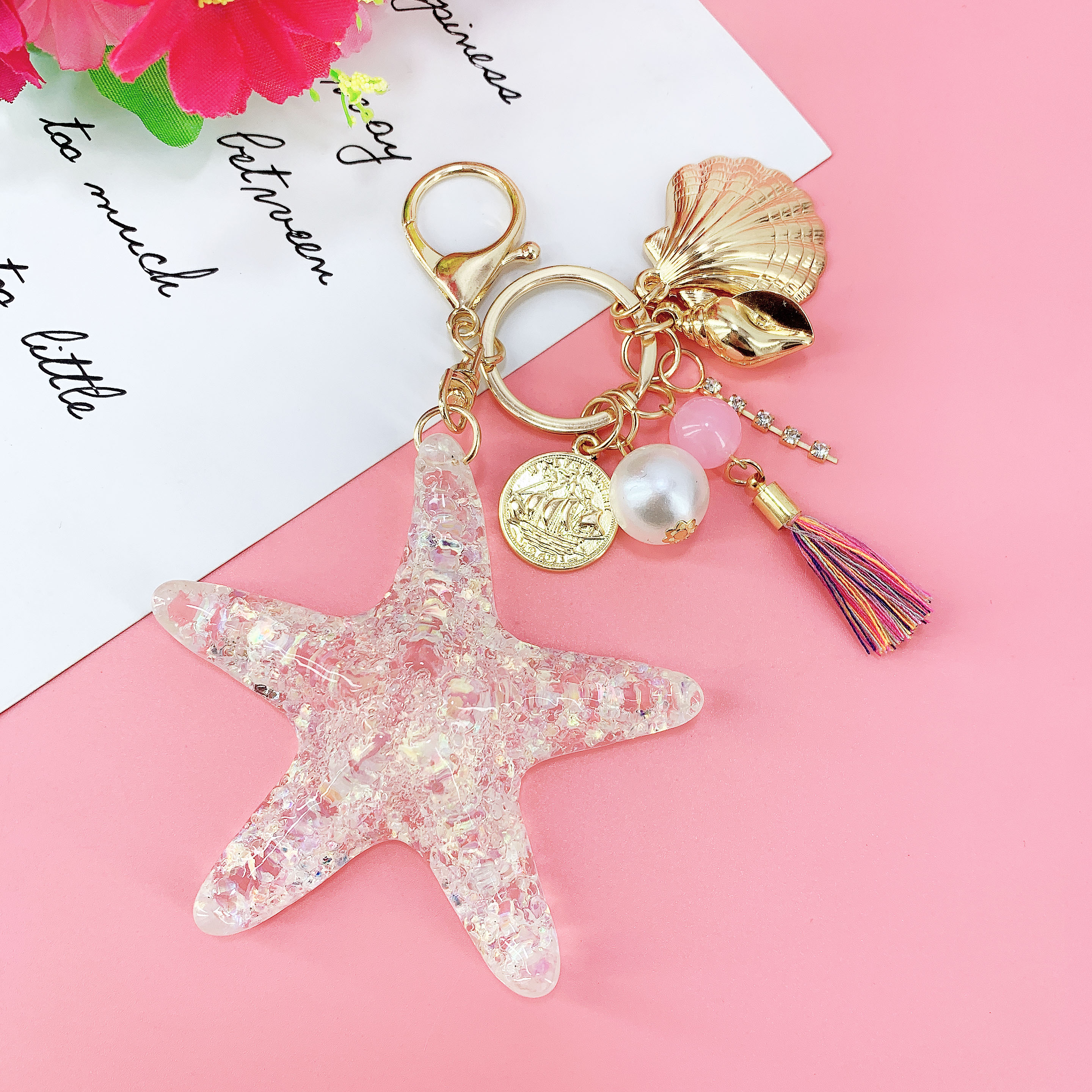New Fantasy Cartoon Sea World Pearl Shell Starfish Keychain Pentagram Crystal Key chain Ladies Bag Car Key Alloy Pendant Jewelry(China)