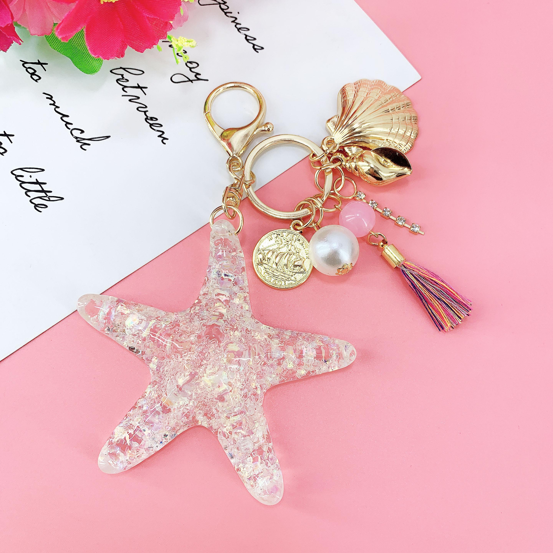 New Fantasy Cartoon Sea World Pearl Shell Starfish Keychain Pentagram Crystal Key Chain Ladies Bag Car Key Alloy Pendant Jewelry