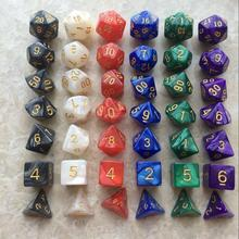 7 шт./компл. многогранные игры TRPG для подземельных драконов, непрозрачные многогранные игральные кости для настольной игры TRPG, для любителей...