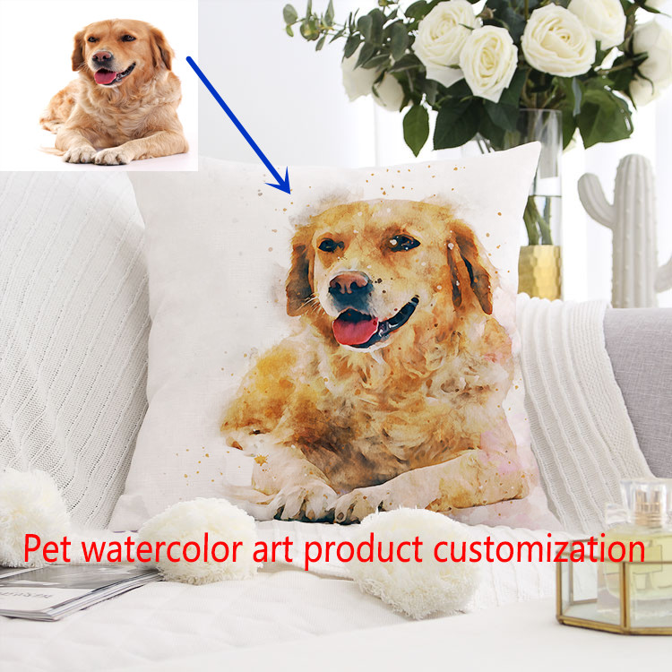 custom watercolor art pet pillow case personalized dog pillow case your custom design custom christmas gift cushion cover