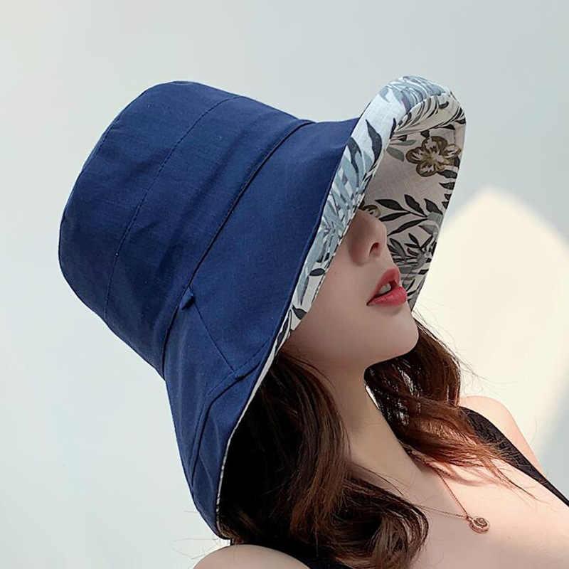 ผู้หญิงผ้าลินินผ้าฝ้าย UPF 50 + หมวกหมวก REVERSIBLE หมวกกว้างพับ Brim และคางสายคล้อง