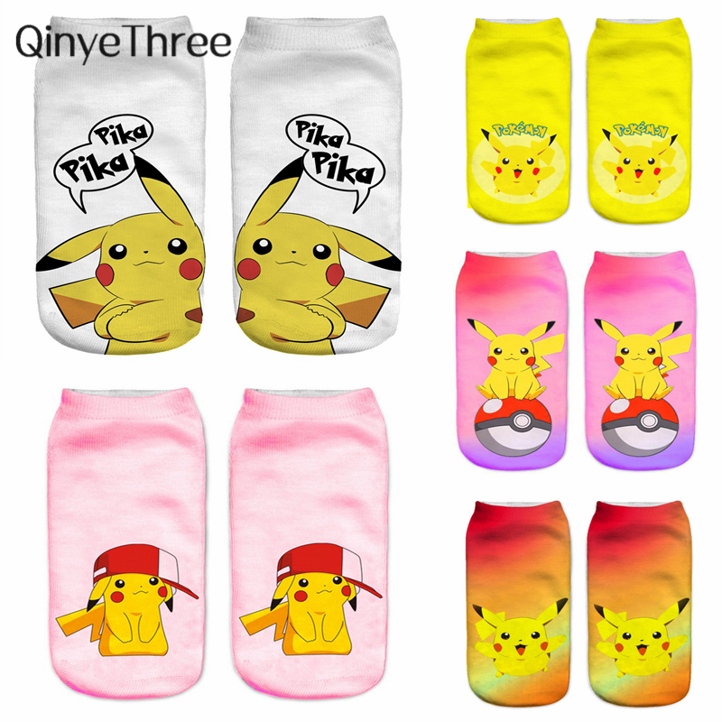 Cute Animal Cotton Socks Female Kawaii Cartoon Pokemon Summer Short Sock Women Casual Soft Sox Funny 3D Cute Pika Printing Socks
