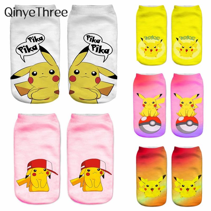 Cute Animal Cotton Socks Female Kawaii Cartoon Pokemon Summer Short Sock Women Casual Soft Sox Funny 3D Cute Pika Printing Socks
