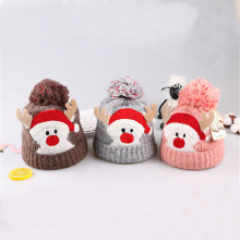 New childrens Christmas hat autumn and winter baby cute cartoon elk wool plus velvet thickening earmuffs knitted