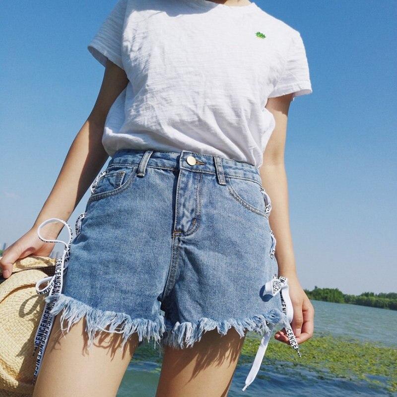 Fashion Denim Shorts 2020 Summer New Fashion High-waist String Rope Wild Slim Slim Wide Leg Denim Shorts Women Highwaisted Jeans 1
