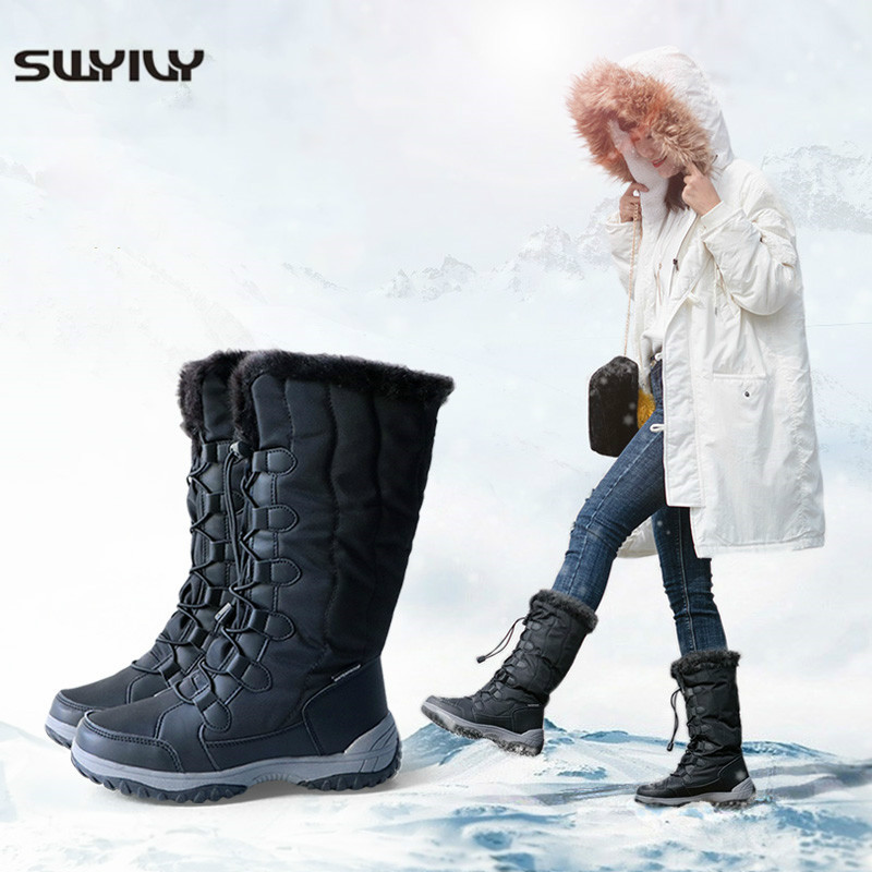 SWYIVY -40 Degree Warm Winter Shoes Women Snow Boots Waterproof 2019 New Female High Boot Thick Fur Cotton Padded High Boots