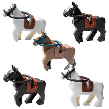 Plastic blocks mini blocks action figures war horses, saddles, mahler toy blocks, children's toys image