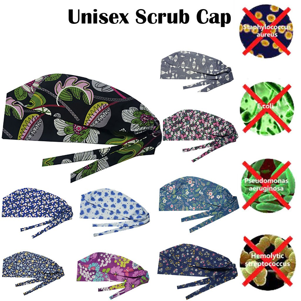 Fashion Solid Print Work Hat Casual Unisex Scrub Cap Printed Cotton Operating Room Hat Nurse Hat Dustproof Gourd Hat 11 Colors