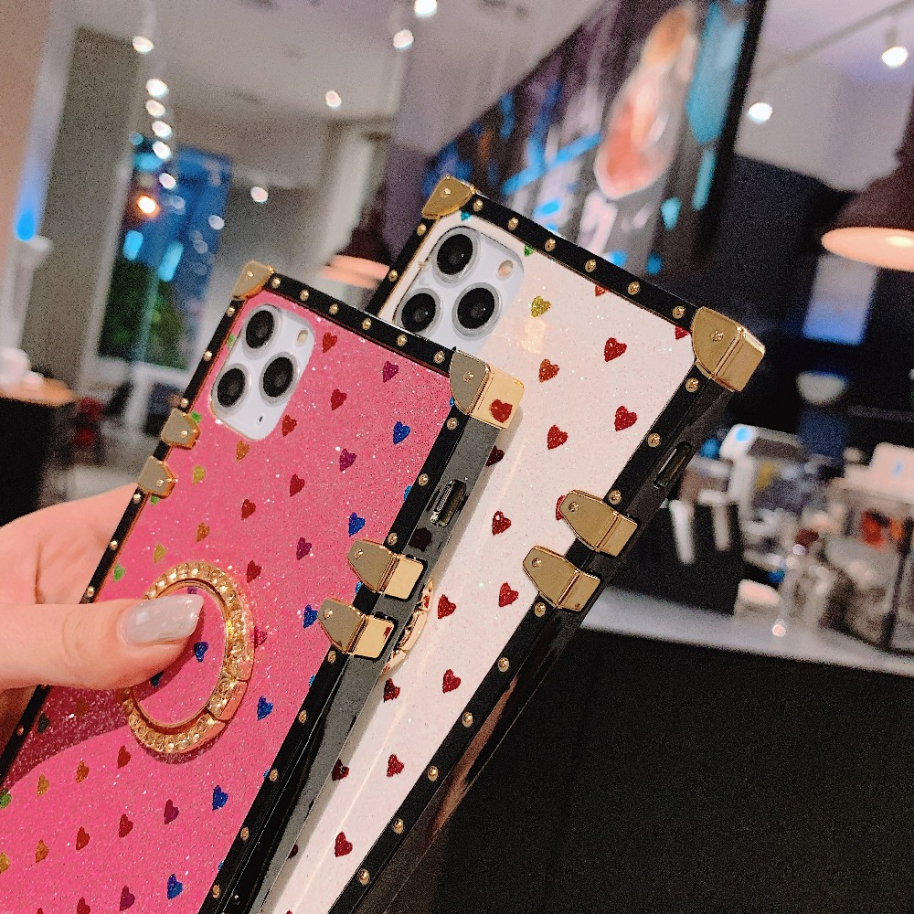Cases For iPhone 11 Pro Max Xr Xs Max Coque Square Diamond Stand Love Heart Bling Sequins Case For iPhone X 6 6S 7 8 Plus Cover (10)