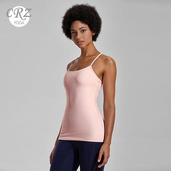 CRZ YOGA damska koszulka kompresyjna z wbudowanymi miseczkami długie podkoszulki treningowe tanie i dobre opinie WOMEN Pasuje prawda na wymiar weź swój normalny rozmiar Szybkie suche 86 Polyamide 14 Spandex R746 XS S M L XL XXL Black White Blue Violet Pink