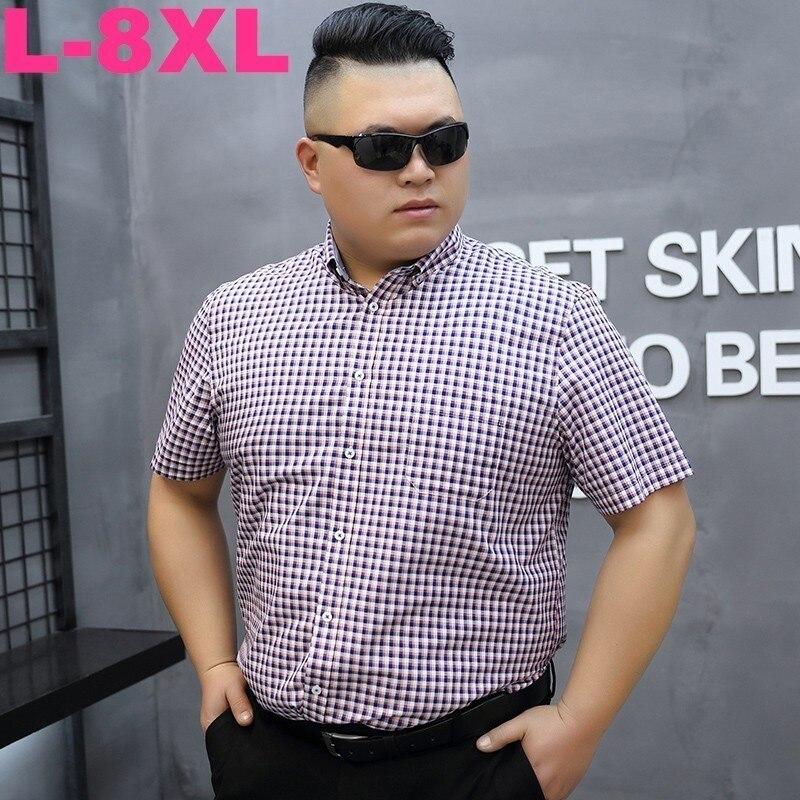 8xl Plus Size 7xl 6xl 5xl Cotton Wholesale 2020 Men Casual Shirts Summer Short Sleeve Plaid Shirt Men Men Slim Fit Dress Shirt