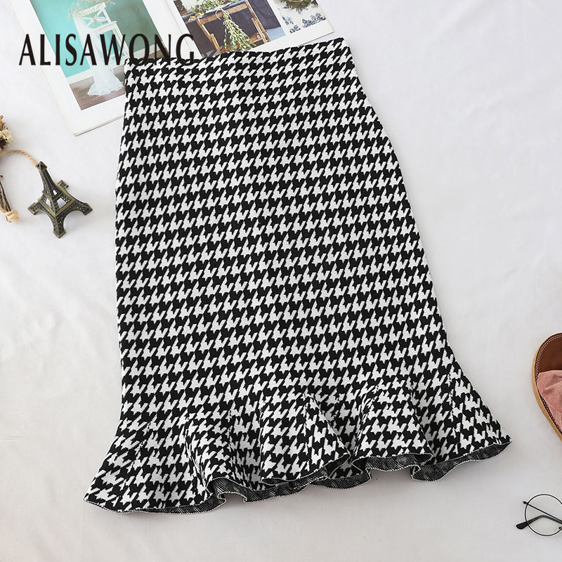 2019 New Arrivals Women Vintage Wrap Skirt Fashion Ladies Black White Plaid Lotus Leaf Hem Midi Skirts Clothing
