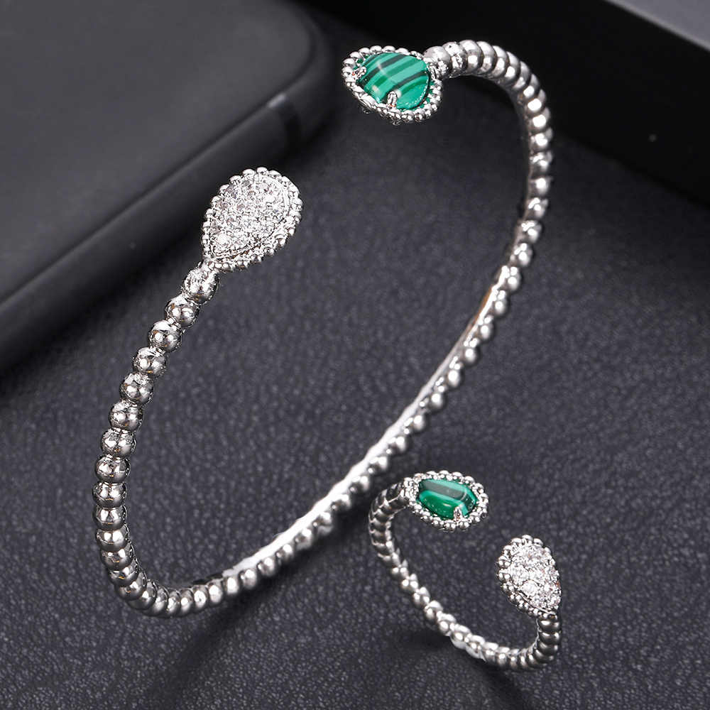 jankelly  Luxury roundshape Bangle Ring Sets Fashion Dubai Silver Bridal Jewelry Sets For Women Wedding brincos para as mulheres