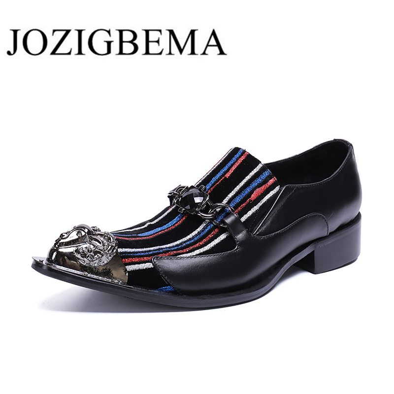 Wedding Men Shoes Pointed Toe Genuine Leather Oxford Shoes Business Dress Formal Gentleman Flats Shoes Multicolor
