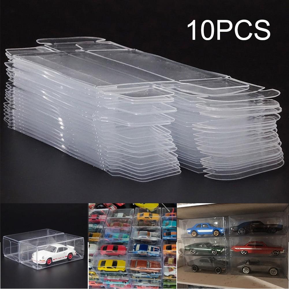 10/25 pçs/set pvc caixa transparente de exibição de carro, caixa transparente para brinquedos, rodas de carro, à prova de poeira, acessórios