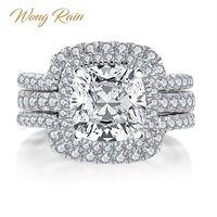 Wong Rain Luxury 100% 925 Sterling Silver Created Moissanite Gemstone Wedding Engagement Ring Bridal Set Fine Jewelry Wholesale