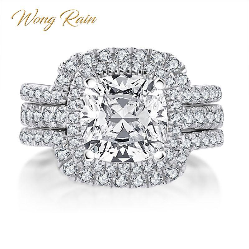 Wong Rain luxe 100% 925 en argent Sterling créé Moissanite pierre gemme de mariage bague de fiançailles ensemble de mariée bijoux fins en gros