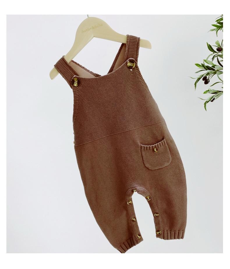 Boys Baby Knitting pajacyki kombinezony noworodka bez rękawów jednolity kolor dzianiny kombinezon maluch odzież dla niemowląt Vintage kombinezon dla dzieci