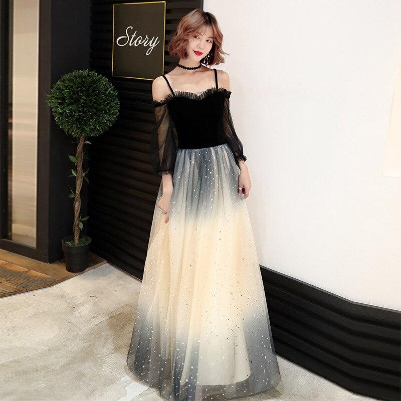 Black Evening Dress Women 2020 New Style Grand  Banquet Temperament Noble Dress High End Long Look Thin