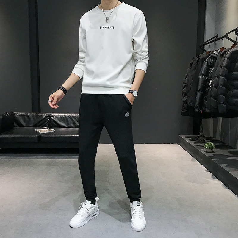 Autumn New Style Men Leisure Set Versitile Fashion Crew Neck Hoodie Suit Two-Piece Set Tops Fashion Men'S Wear