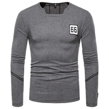 New Long-sleeved T-shirt European Code 2019 British Youth Solid Color Mens Square Collar Wild