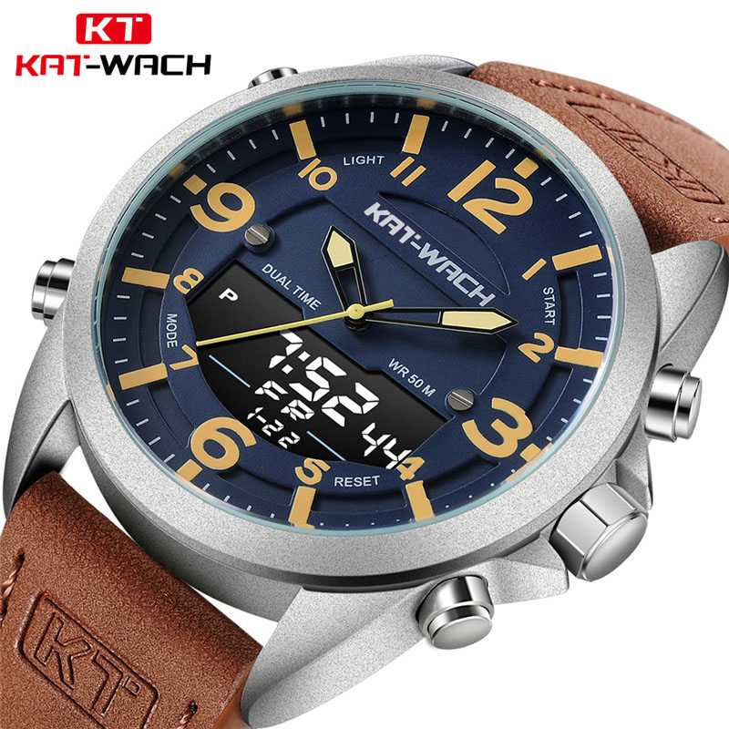 Fashion Brand Men Sports Watches with Leather Strap Digital Analog Watch Army Military Waterproof Male LED Relogio Masculino