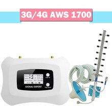 Walokcon 4G AWS 1700 2100 hücresel sinyal amplifikatörü 70dB kazanç LCD ekran cep telefonu sinyal güçlendirici 4G LTE tekrarlayıcı bant 4 kiti