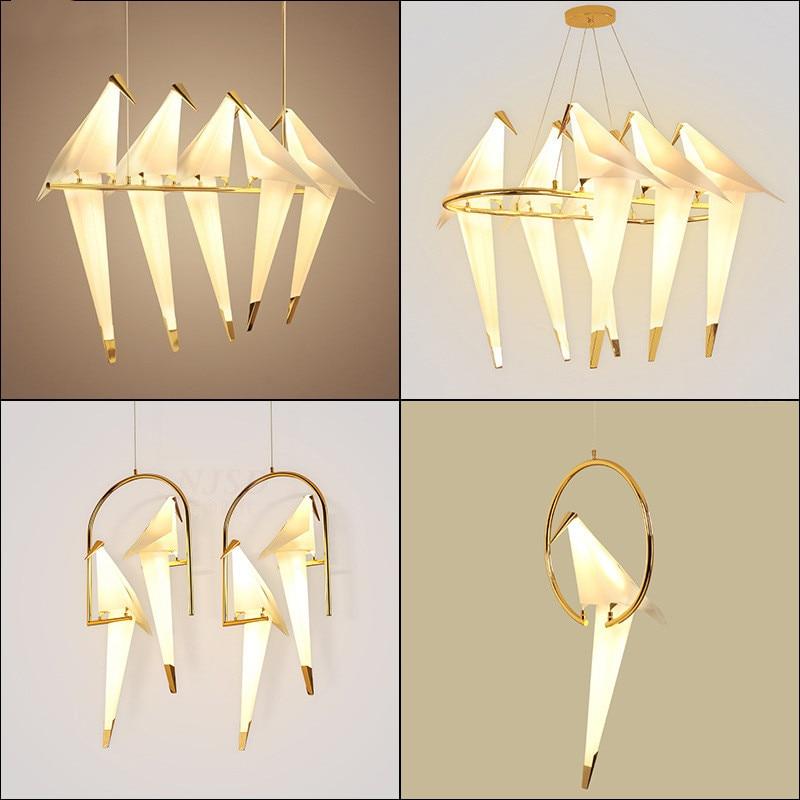 Bird Paper chandelier For Kitchen Dining room Living room Origami Metal Paper Hanging Lamp lustre avize modern salon Chandelier