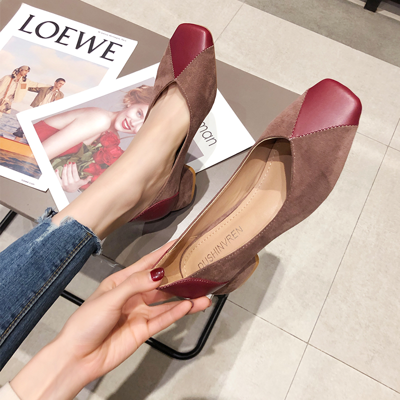 EOEODOIT 5 Cm Med Heel Shoes Women Autumn Retro Square Toe Pumps Slip On Chunky Heel Sexy V Mouth Work Daily Shoes