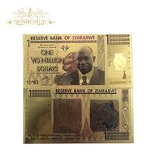 10 шт./лот Зимбабве банкноты один Vicintillion долларов с покрытыем цвета чистого 24 каратного золота БАНКНОТ с ультрафиолетовым светом для сувенира и коллекция подарков