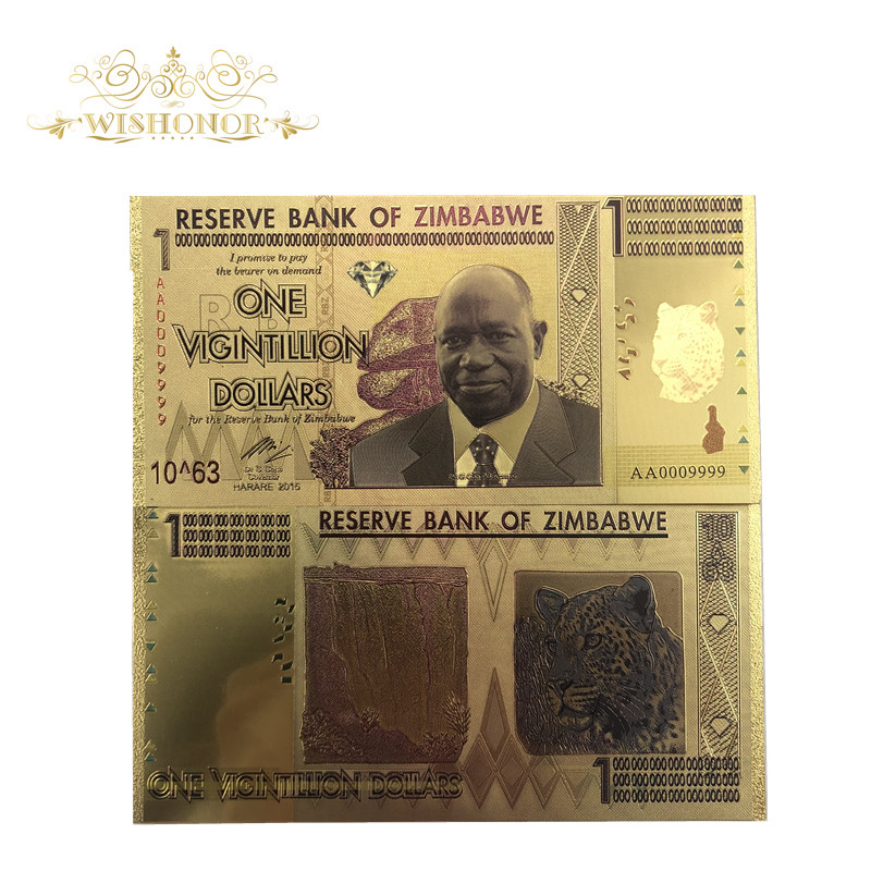 10pcs/lot Zimbabwe Banknotes One Vicintillion Dollars 24K Gold Banknote With UV Light For Souvenir And Collection Gifts
