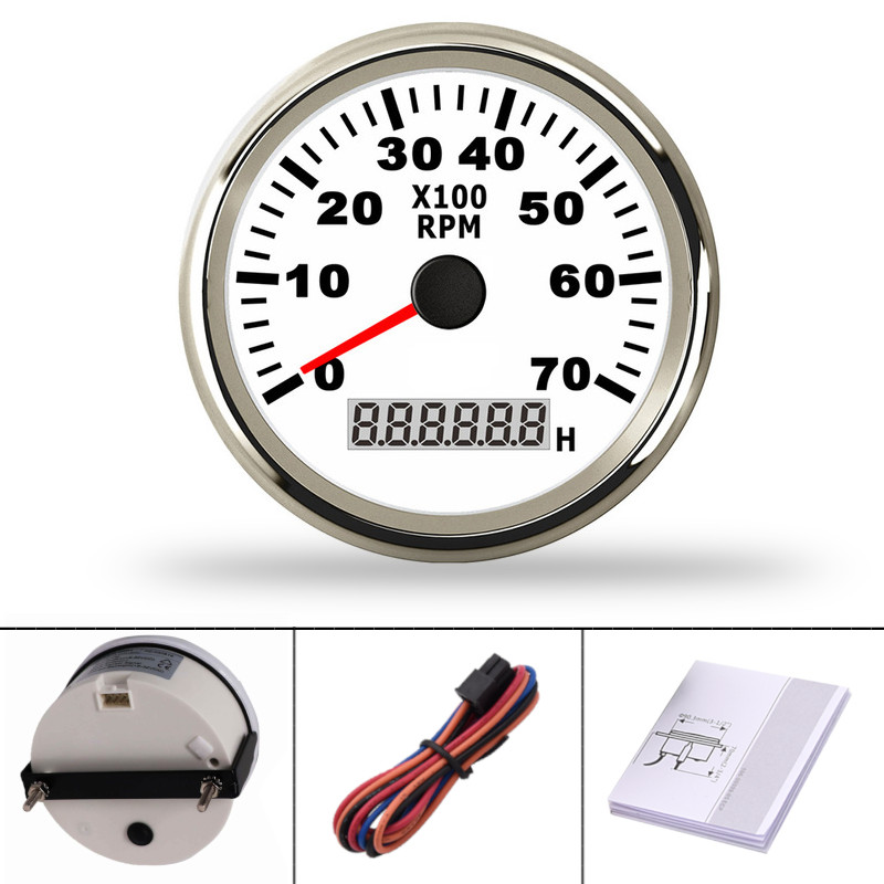 85mm Stainless Steel Boat Tachometer 0~7000 RPM REV Counter for Outboard Motor Boat Auto Tach Electric Motor Tachometer 9~32V