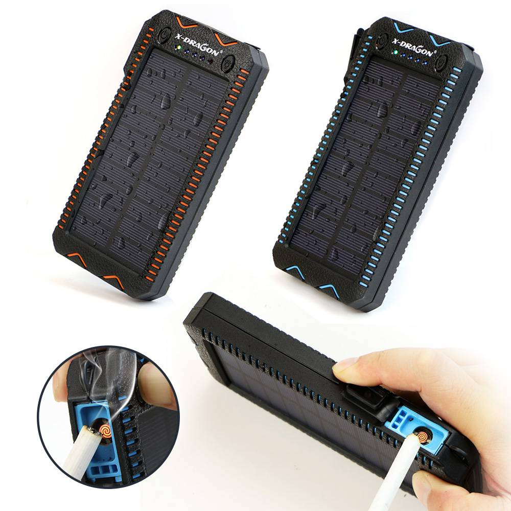 Waterproof Solar Power Bank with Cigarette Lighter and Dual USB Output Ports for Smartphone Charging 2