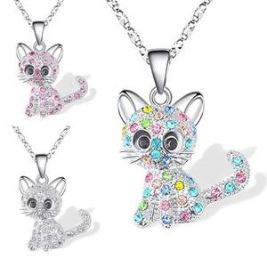 Обувь для девочек милый кот кулон ожерелье для женщин дети мода красочные с украшением в виде кристаллов с рисунками зверей из мультфильмов ожерелья, ювелирные изделия в качестве подарка Ожерелья с подвеской      АлиЭкспресс