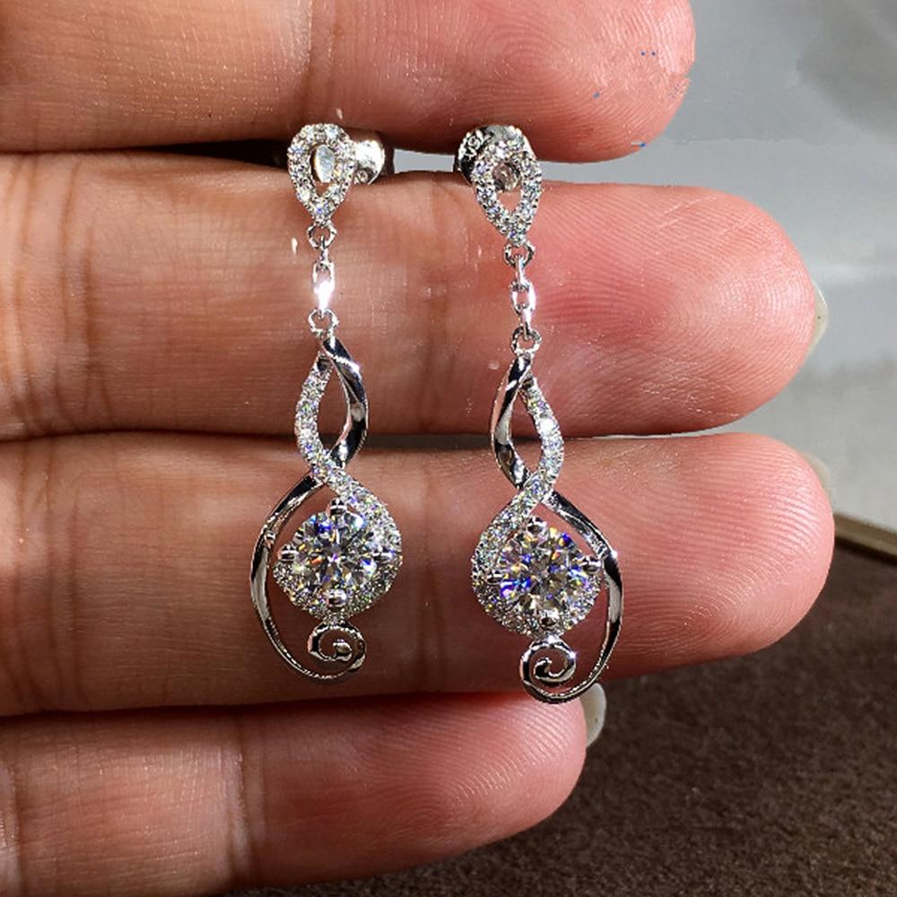 Huitan Twist Long Dangle Earrings Women Fashion Jewelry Cubic Zirconia Engagement Wedding Party Female Drop Jewelry High Quality