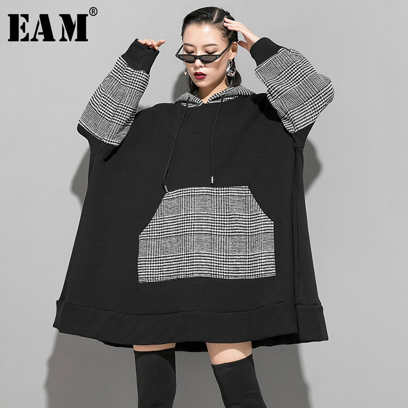 [EAM] Loose Fit Plaid Split Oversized Sweatshirt New Hooded Long Sleeve Women Big Size Fashion Tide Spring Autumn 2020 1K165
