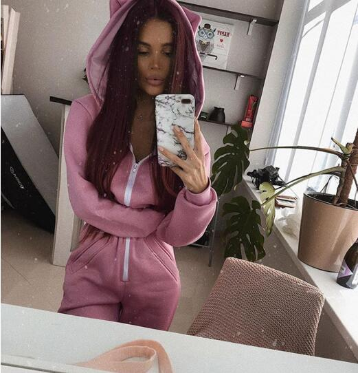 2020 Autumn Winter Women Zipper Hoodies Collar Pocket Loose Jumpsuits For Girls Casual Go Out Sport Overalls Pink Black Playsuit