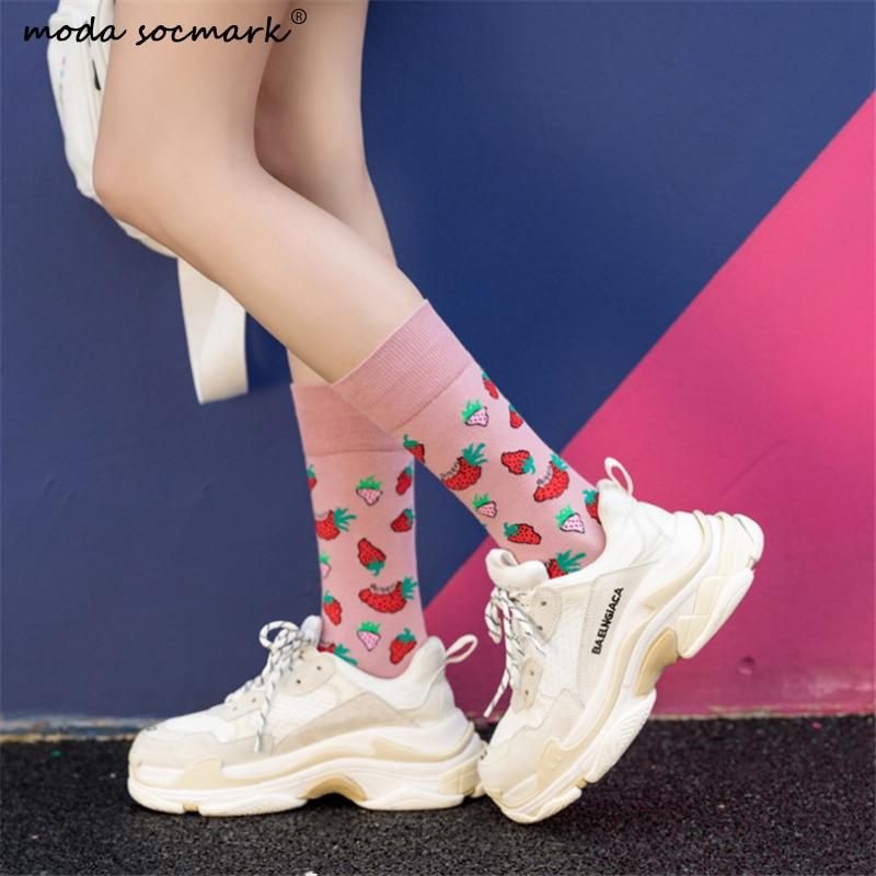 Moda Socmark  Harajuku Kawaii Happy Socks Women 2020 New Arrival Fashion Strawberry Funny Socks Creative High Quality Cute Sock