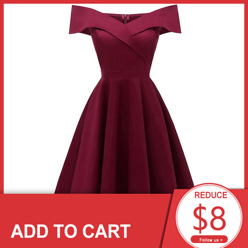 Dressv burgundy cocktail dress cheap off the shoulder short sleeves graduation party dress elegant fashion cocktail dress
