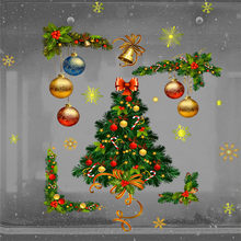 Christmas Tree Wall Stickers Merry Christmas Window Wall Sticker Xmas Home Decor Stickers Muraux Pour Enfants Chambres 30OCT16(China)