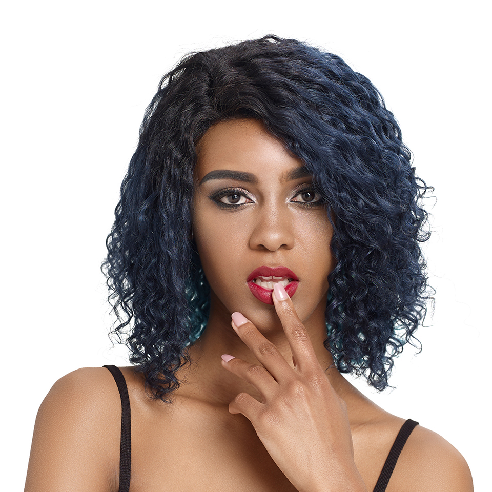 Debut Human Hair Wigs Curly Short Human Hair Wig 100% Remy Brazilian Hair Wigs For Mom Hair U Part Lace Wigs Short Ombre Wig