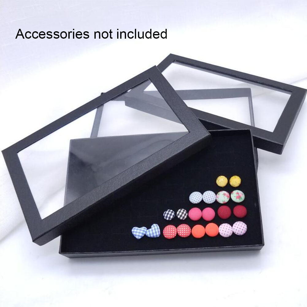 1 Pcs Exquisite Practical Fine 36 Slots Ring Storage Ear Display Box Jewelry Organizer Holder Transparent Window Show Case