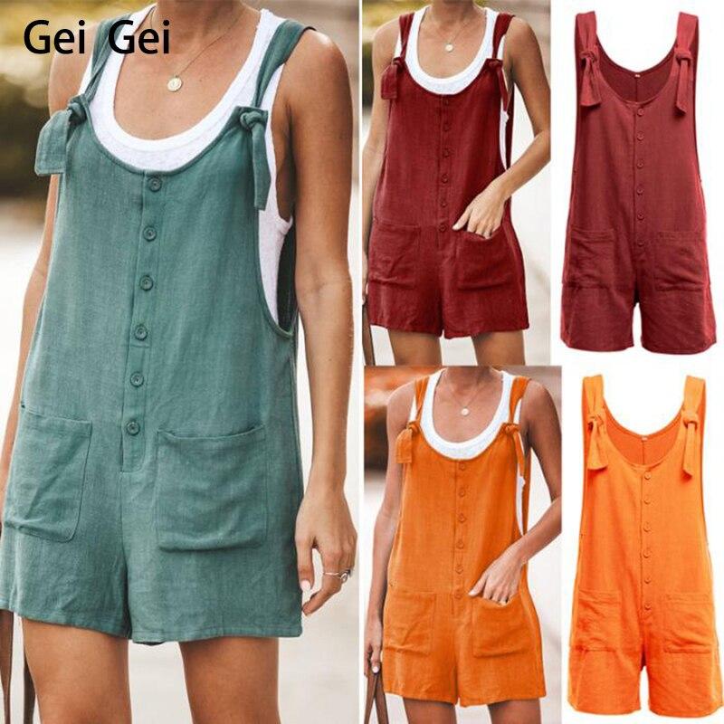 2020 New Summer Cotton Linen Jumpsuit Women Casual  Loose Lace Pocket Lace Up Bib Shorts Student U-Neck Jumpsuit Overalls