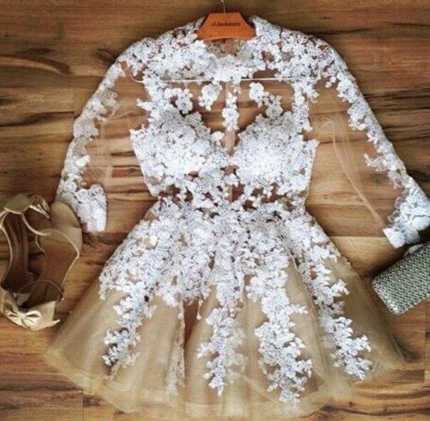 Прозрачное короткое выпускное платье из органзы цвета шампанского, 2018, кружевные аппликации, сексуальные праздничные платья подружки неве